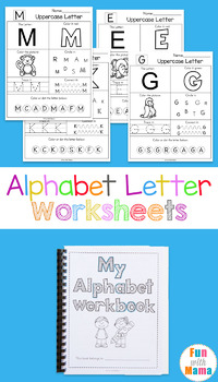 No Prep Alphabet Letter Worksheets