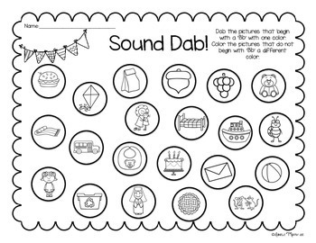 Beginning Sound Dab!  No Prep Alphabet Practice