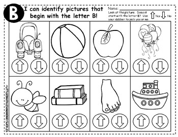 No Prep - Alphabet Worksheets - Identify Beginning Sounds