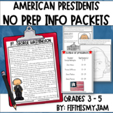 No Prep American Presidents Information Packets (1 - 5)