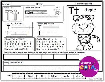 No Prep Animal ABC Letter Identification and Writing Worksheets