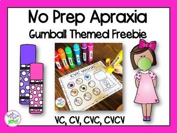 No Prep Apraxia Freebie for Speech Therapy