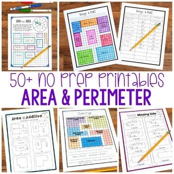 No Prep Area and Perimeter Printables - Encourage Higher L