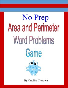 No Prep Area and Perimeter Word Problems Game 4.MD.A.3