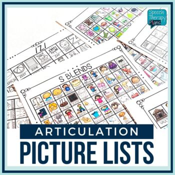Speech Therapy   No Prep Articulation Picture Lists   Visuals