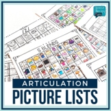 Speech Therapy | No Prep Articulation Picture Lists | Visuals