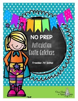 No Prep Articulation Cootie Catchers: Freebie /t/ Initial