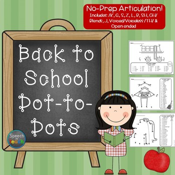 No-Prep Articulation Dot-to-Dots: Back to School Edition