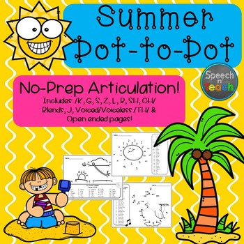 No-Prep Articulation Dot-to-Dots: Summer Edition