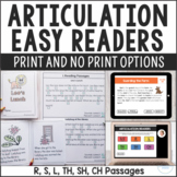 No Print Digital and Printable Articulation Easy Reading Passages