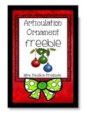 No Prep Articulation Freebie- Articulation Ornament for S