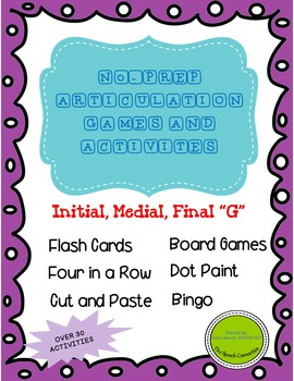 """No-Prep Articulation Games and Activities for  """"G"""" in all positions"""