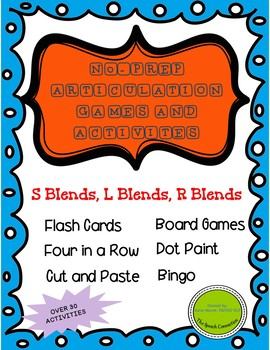 """No-Prep Articulation Games and Activities for """"S"""", """"L"""", and """"R"""" Blends"""