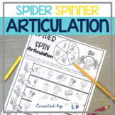Halloween Articulation Speech Therapy Spider No Prep Spinner Worksheets