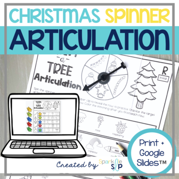 Christmas Articulation:  No Prep Spinner Speech Therapy Worksheets