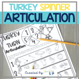 Thanksgiving Turkey Articulation:  No Prep Spinner Speech Therapy Worksheets