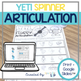 Yeti Articulation: No Prep Spinner Speech Therapy Worksheets