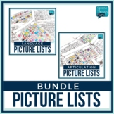 No Prep Articulation & Language Picture Lists Bundle