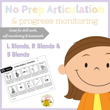 No Prep Articulation and Progress Monitoring L, R & S Blends