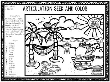 No Prep Articulation Seek and Color