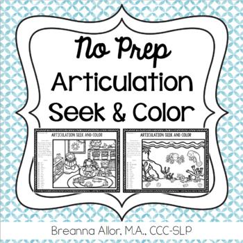 No Prep Articulation Seek and Color