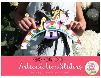 No Prep Articulation Sliders for f, k, g, s, and s blends: Magical Unicorns