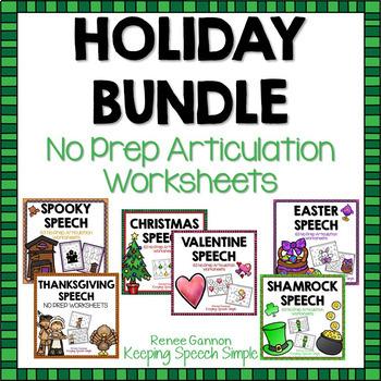 No Prep Articulation Worksheet Bundle - Holidays