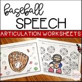No Prep Articulation Worksheets - Baseball Themed