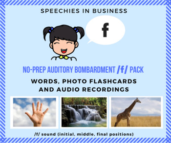 No-Prep Auditory Bombardment /f/ Pack: words, pictures and audio recordings