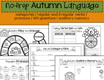 Thanksgiving Activities For Language Skills
