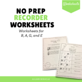 No Prep BAGE Recorder Worksheets