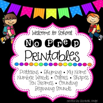 No Prep Back To School Printables
