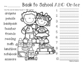 No Prep Back to School - Fall - Autumn: ABC Order