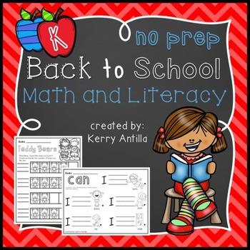No Prep Back to School Math and Literacy Kindergarten