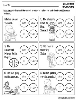 No Prep Back to School Pronoun Practice