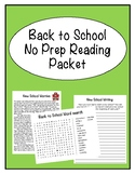Remote Learning Back to School Reading Packet