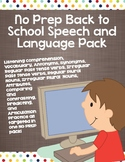 No Prep Back to School Speech and Language Pack