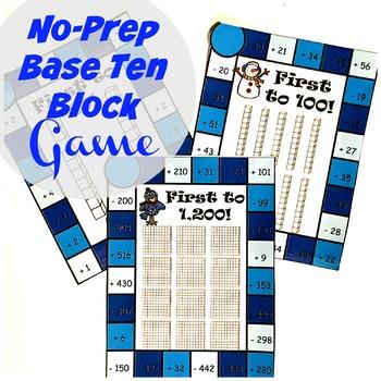 No-Prep Base Ten Block Game (Winter themed)