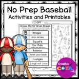 No Prep Baseball Activities and Worksheets