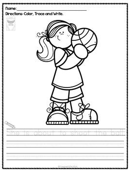 No Prep Basketball Writing Coloring Tracing Pages