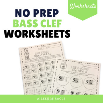 No Prep Bass Clef Music Worksheets