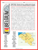 BELGIUM Word Search Puzzle Worksheet Activity