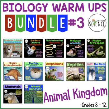 Animal Kingdom Biology Interactive Notebooks or Warm Ups Bundled Set Part 3
