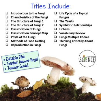 No Prep Biology Interactive Notebooks or Warm Ups: The Fungi