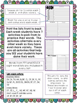 No Prep Blend and Digraph Spelling Word Lists and Activities
