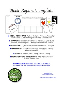 60 Pages No Prep - Book Report / Review For Any Novel / Story For Lapbooks