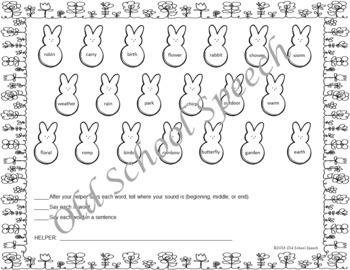 No Prep Bunny Homework for Speech and Language