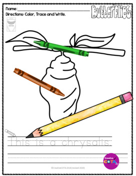 No Prep Butterfly Coloring Pages and Sentence Trace and Write