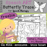 Freebie No Prep Butterfly Trace for Articulation Speech Therapy Activity for L