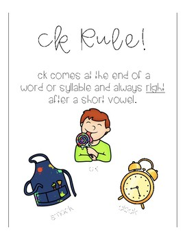 No Prep! CK Rule Phonics Activities & Literacy Centers